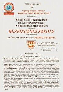 Certyfikat Bezpieczna Szkoła Bezpieczny uczeń